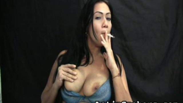 Big-chested Cougar Smoking Fetish Style