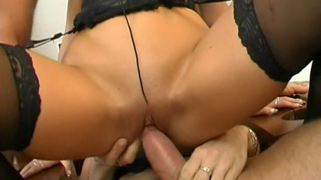 Trashy Black-haired Marionette In Pantyhose Caslavova Will Get Dual Nailed