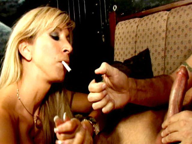 Mischievous Ash-blonde Honey Morgan Ray Smoking And Deepthroating A Big Hard-on On Her Knees
